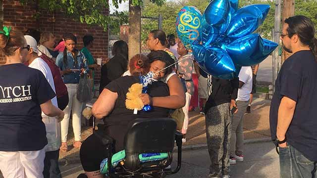 Family and friends of Demond Moorehead, 7, gathered to honor him Tuesday, He was on his bike when he was hit and killed by a driver in South City on Sunday. Credit: KMOV