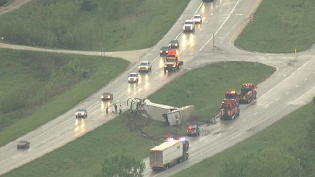 Skyzoom4 over overturned semi-truck near Troy, Mo. Wednesday (Credit: KMOV)