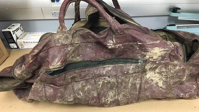 Remains of an infant were found in this duffel bag on April 15. Credit: St. Louis County PD