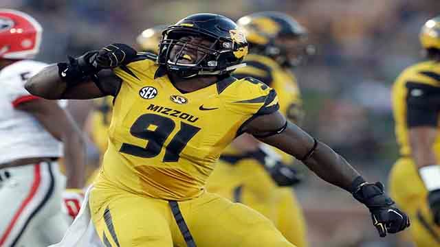 In this Sept. 17, 2016, file photo, Missouri defensive end Charles Harris celebrates during the first half of an NCAA college football game against Georgia, in Columbia, Mo.