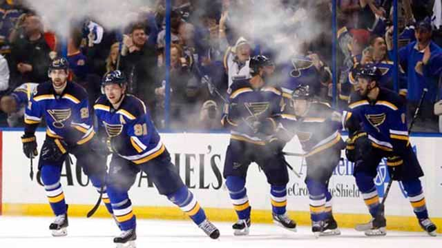 (AP Photo/Jeff Roberson). St. Louis Blues right wing Vladimir Tarasenko (91), of Russia, skates to the bench after scoring the winning goal against the Nashville Predators during the third period in Game 2 of an NHL hockey second-round playoff series/