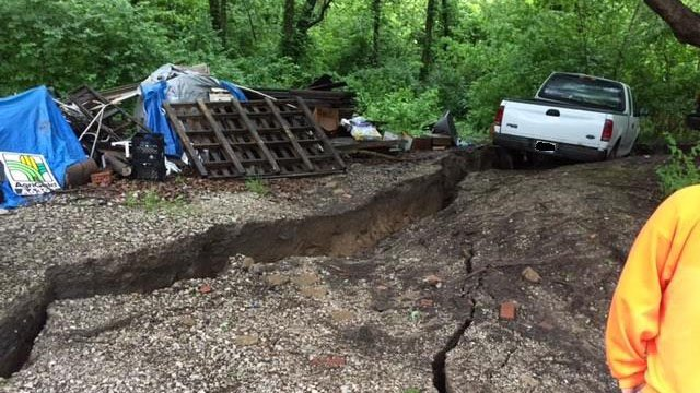 A mudslide destroyed a house in Caseyville Wednesday night. Credit: St. Clair County EMA