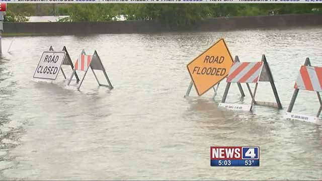 The rising River Des Peres has prompted a sandbagging effort in South City. Credit: KMOV