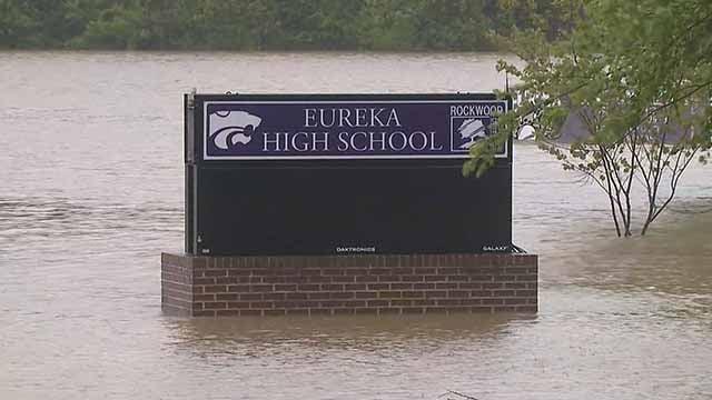 Rising water at Eureka High School. Credit: KMOV