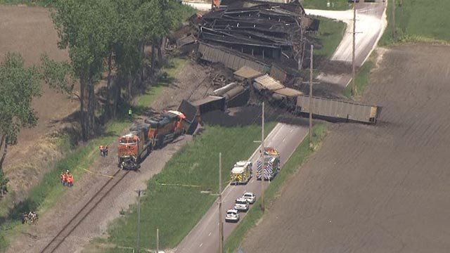A train hit a dump truck in Foley, Mo. Friday (Credit: KMOV)
