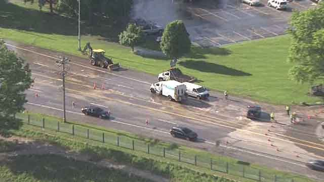 A water main break shut down westbound Page just north of I-170 (Credit: KMOV)