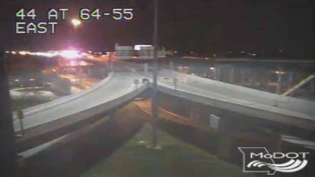 A wreck has closed all westbound lanes of the Poplar Street Bridge. Credit: MoDOT