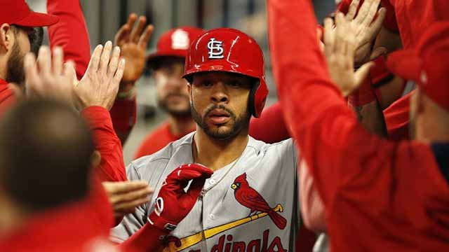 Centerfielder Tommy Pham #28 of the St. Louis Cardinals is congratulated in the dugout after hitting a 2-run home run in the third inning during the game against the Atlanta Braves at SunTrust Park on May 5, 2017 in Atlanta. (Getty Images)