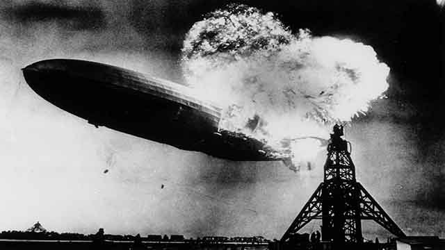 In this May 6, 1937 file photo, the German dirigible Hindenburg crashes to earth in flames after exploding at the U.S. Naval Station in Lakehurst, N.J. (Credit: AP)