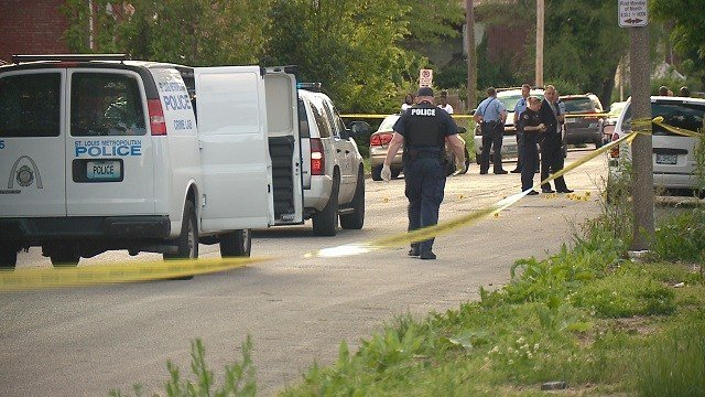 The scene at Cote Brilliante Avenue after a man was shot multiple times. (Credit: KMOV)
