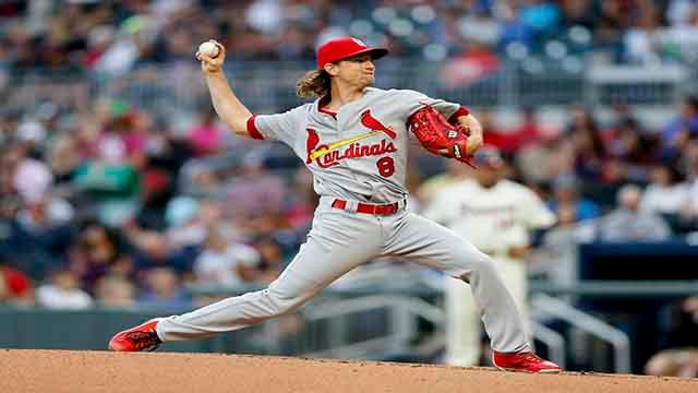 St. Louis Cardinals starting pitcher Mike Leake (8) works in the sixth inning of a baseball game against the Atlanta Braves, Saturday, May 6, 2017, in Atlanta. (AP Photo/John Bazemore)