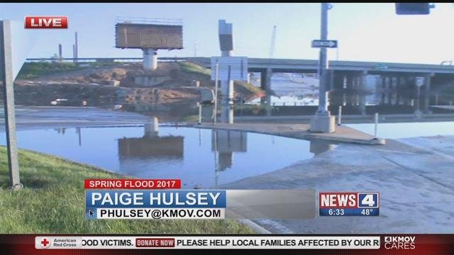Route 141 in Valley Park was still underwater on Sunday morning (Credit: KMOV)