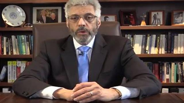 SLU President Fred Pestello in a Facebook video apology (Credit: KMOV)