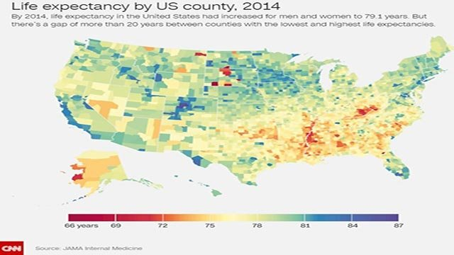 By 2014, life expectancy in the United States had increased for men and women to 79.1 years. But there's a gap of more than 20 years between counties with the lowest and highest life expectancies. (Credit:  JAMA Internal Medicine)