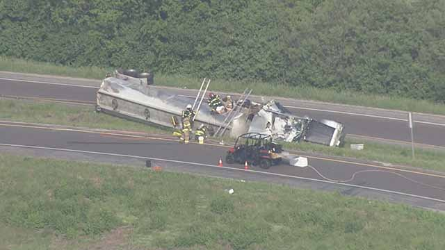 This tanker overturned while exiting from EB I-270 onto NB Route 3 when it crashed. Credit: KMOV