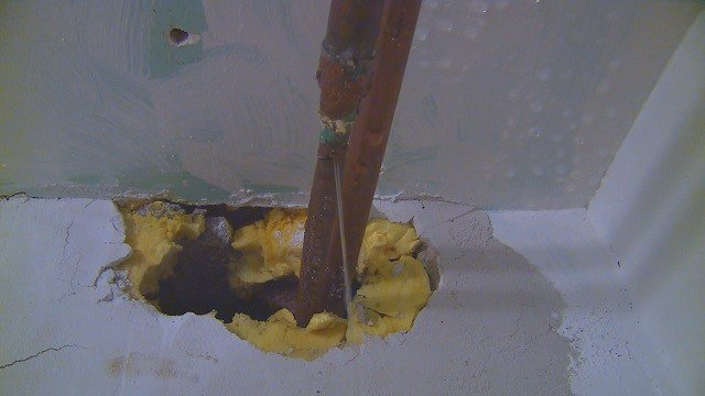 The thieves were trying to steal copper pipes from the church. (Credit: KMOV)
