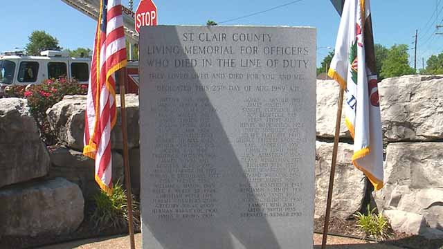 St. Clair County honored officers who have been killed in the line of duty Tuesday. Credit: KMOV