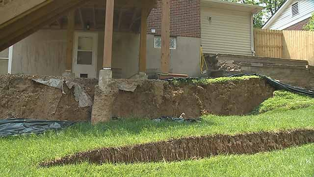 Laurie Stein is wondering what caused her backyard in North County to cave in. Credit: KMOV