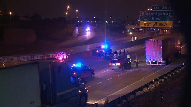 A wrong-way driver crashed into another vehicle on I-40 at Kingshighway Friday (Credit: KMOV)