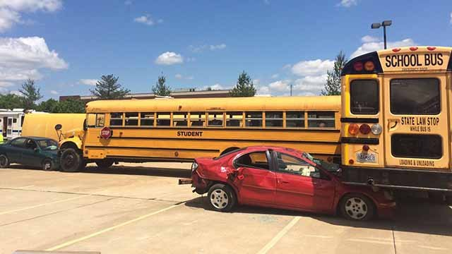 Bus crash simulation emergency response training in Wenztville. (Credit: KMOV)