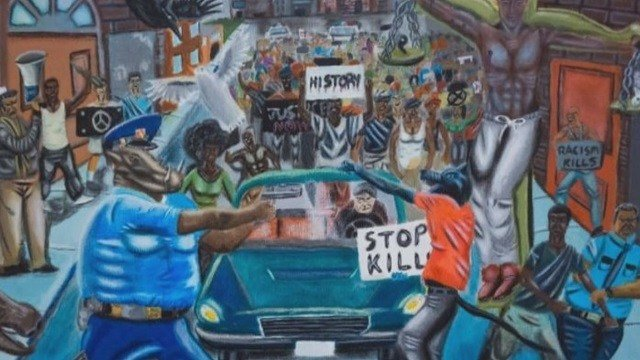 The high school student's controversial painting. (Credit: KMOV)