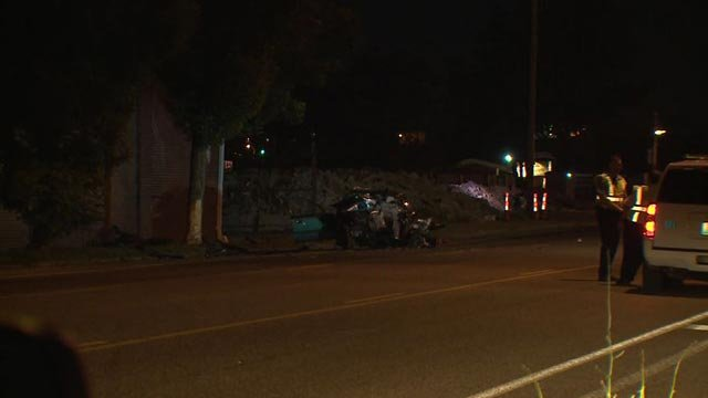 Man, woman hospitalized following Monday morning crash on Manchester in South City (Credit: KMOV)