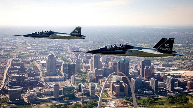 The Air Force T-X over the St. Louis skyline (Credit: Boeing / Twitter)