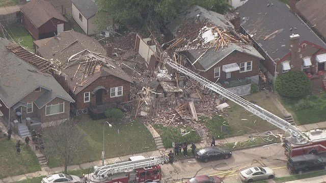 Police are still investigating a North St. Louis home explosion that damaged two other neighboring homes. (Credit: KMOV)