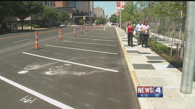New angled parking at Kiener Plaza. Credit: KMOV