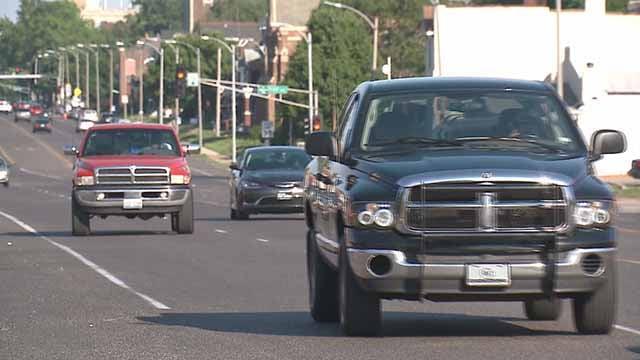 Cars on a city street. Credit: KMOV