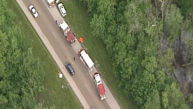 Emergency crews on WB I-64 near Scott Air Force Base following a crash Wednesday (Credit: KMOV)
