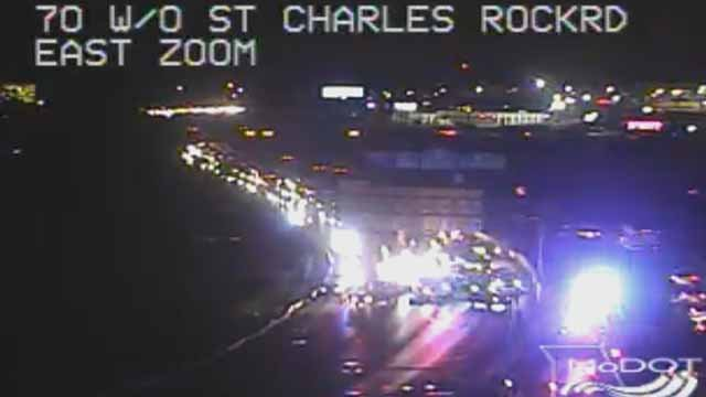 All lanes of WB I-70 are closed just east of I-70 due to a police incident. Credit: MoDOT