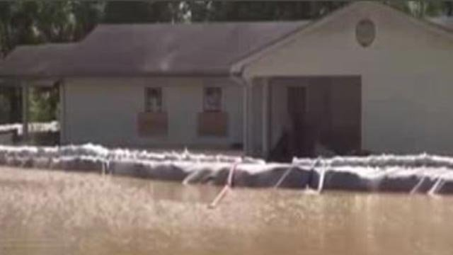 Flood waters around Glencoe Community Church of God in Wildwood (Credit: KMOV)