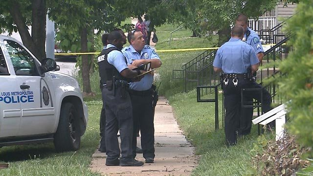 Police in the 5900 block of Lalite after a 13-year-old was shot Wednesday (Credit: KMOV)