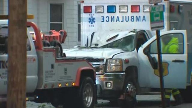 A tree fell on an ambulance in Alton Friday morning (Credit: KMOV)