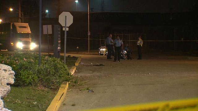 Police on the scene following a fatal motorcycle crash Friday (Credit: KMOV)