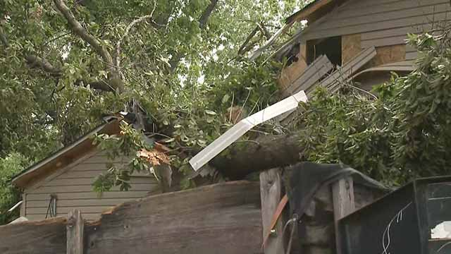 Sharon Dawson's home in Bel-Ride was condemned after a tree fell into her home when storms move through. Credit: KMOV