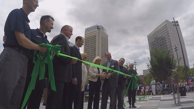 Kiener Plaza reopens Friday afternoon in downtown St. Louis. (Credit: KMOV)
