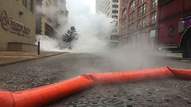 A steam line exploded at 10th and Pine on Saturday, May 17, 2017 (Credit: KMOV)
