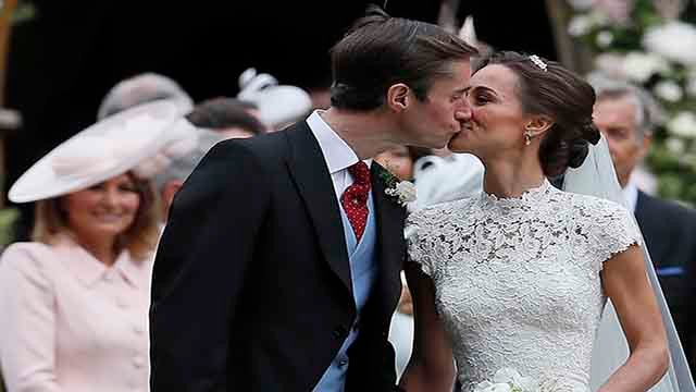 Pippa Middleton and James Matthews kiss after their wedding at St Mark's Church in Englefield, England Saturday, May 20, 2017. Middleton, the sister of Kate, Duchess of Cambridge married hedge fund manager James Matthews in a ceremony Saturday where her n