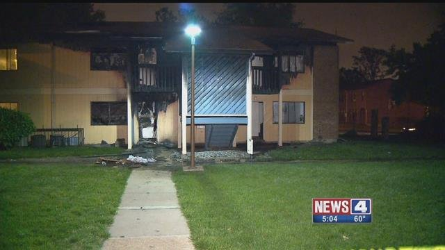 The Hyde Park Village apartment building was destroyed by fire on Friday, May 19, 2017 (Credit: KMOV)
