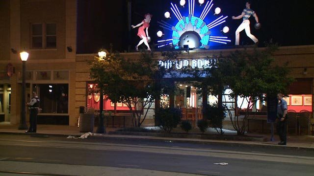 Police outside the Pin-up Bowl in the Delmar Loop Tuesday (Credit: KMOV)