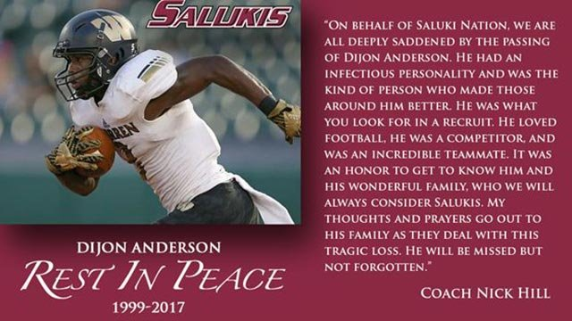 Statement sent out by Saluki athletics following Anderson's death (Credit: SIUC)