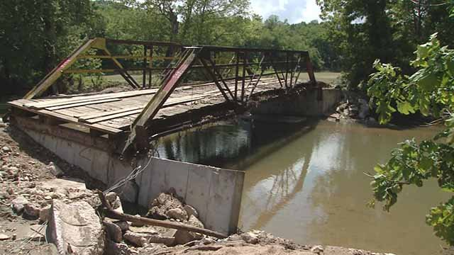Residents along a rural road near Louisiana, Mo. say Pike County is refusing to repair this bridge. Credit: KMOV