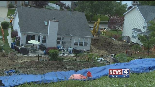 Residents of the Winter Valley subdivision in Fenton are concerned about the number of mudslides occurring near their homes. Credit: KMOV