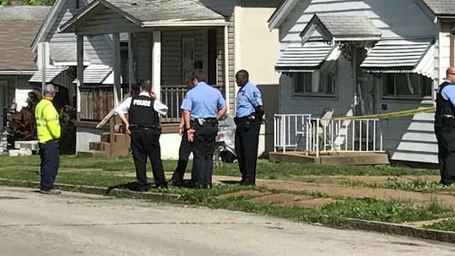 Police on scene of a double shooting on Canaan in St. Louis Thursday, May 25. (KMOV)