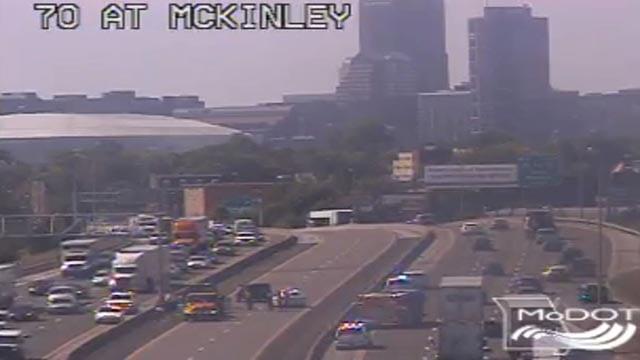 Emergency crews on I-70 near McKinley following a crash (Credit: MoDOT)