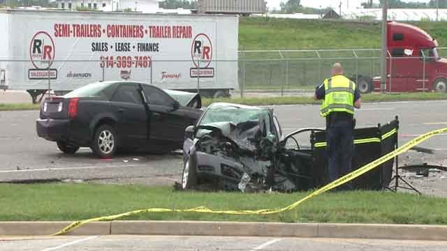 Police investigate a fatal accident that happened on Hall Street on Sunday, May 28, 2017 (Credit: KMOV)