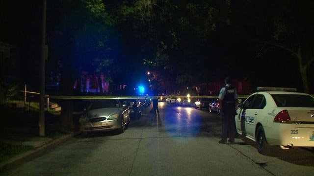Police in the 3200 block of Greer Avenue after a man was shot and killed  during the early morning hours Monday (Credit: KMOV)