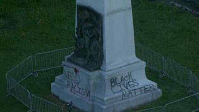 Skyzoom4 over the Confederate monument Tuesday (Credit: KMOV)
